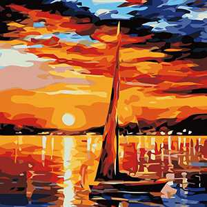 DIY Oil Paint,Brushes Kits Paint by Numbers for Adults Acrylic Painting Gifts for Kids, Adults Beginner, Students 18.5-21.6inch (Sunset)