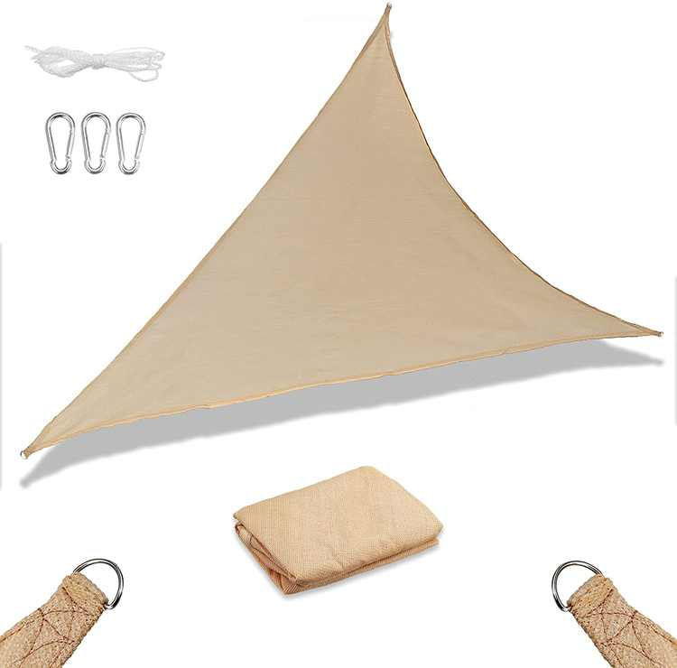Slimerence Sun Shade Sail, Sun Protection Triangle Awning Canopy UV Block Patio Canopy Water Resistant PES Sunscreen with Free Rope Beige F