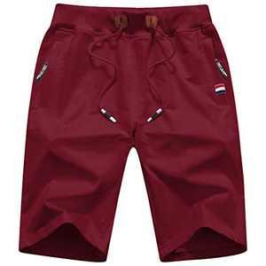 yuyangdpb Men's Workout Shorts Casual Cotton Elastic Sport Running Shorts with Zipper Pocket Wine 36