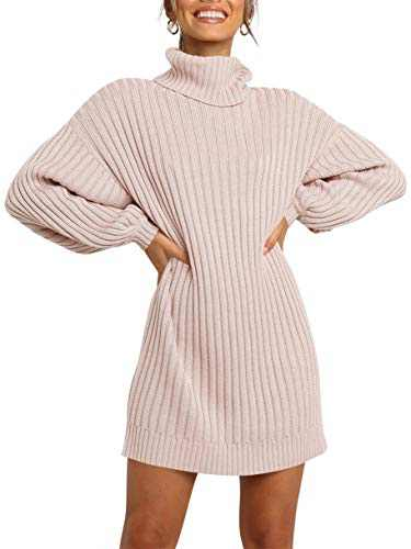Margrine Womens Turtleneck Loose Long Sleeve Knit Warm Pullover Sweater Tops Dress Pink M2A40-fen-S