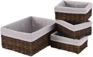 Mxfurhawa Handmade Wicker Storage Baskets Set with Liners, Decorative Storage Bins Shelf Baskets Woven Organizing Nesting Baskets for Kitchen Bedroom Bathroom Set of 4 (Brown)