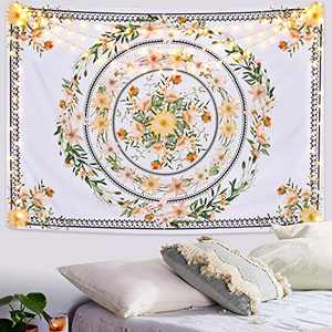 Floral Medallion Tapestry, Bohemian Mandala Tapestries, Sketched Flower Plant Tapestry Wall Hanging for Living Room Bedroom (82.7 × 59.1 inches)