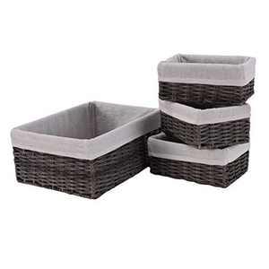Mxfurhawa Handmade Wicker Storage Baskets Set with Liners, Decorative Storage Bins Shelf Baskets Woven Organizing Nesting Baskets for Kitchen Bedroom Bathroom Set of 4 (Grey)