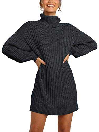 Margrine Womens Oversized Turtleneck Long Sleeve Chunky Knit Pullover Sweater Dresses Black M2A40-hei-XL