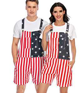 YXLUOKY Unisex Men's Women's Patriotic American Flag Print Denim Bib Overall Shorts Jeans(806-1-XL)