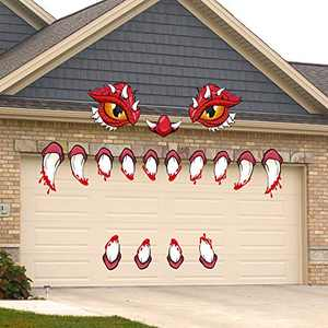 Halloween Monster Face Decorations-Large, Eyes Fangs Nostril Indoor and Outdoor Garage Archway Door Window Car Halloween Party Decoration