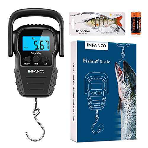 INFANCO Fish Scale, Digital Fishing Scale, HD LCD Backlit Display, Enhanced Bigger Hook, 110lb/50kg Hanging Weight Scale w/Measuring Tape for Fishing, Luggage, AAA Battery & Fishing Lure Included