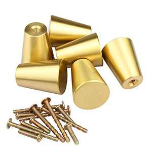 OTTFF Cone Shape Drawer Pulls One Hole Brushed Solid Brass 59 Cabinet Knobs Gold for Kitchen Bathroom Dresser End Table Cupboard Handles(6, M (Approx 42g))