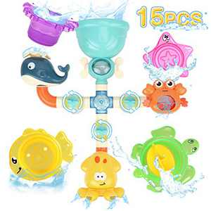 GILOBABY Baby Bath Toys for Toddlers Kids 3 4 5 Years Old 15PCS Early Educational Animal Assemble Toy Set with Stacking Cups for Babies Girls Boys
