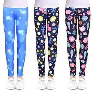 slaixiu 3-Pack Printing Flower Girl Leggings Kids Classic Pants 4-13Y(ZABT_65#) New