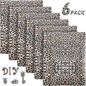 6 Sheets Leopard Print Vinyl 12 Inch by 10 Inch Iron on Heat Transfer Vinyl Leopard Patterned Heat Transfer Vinyl Leopard Print Vinyl Iron on HTV for T-Shirts, Hats, Clothing, Bags