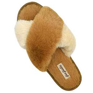 jiajiale Women's Cross Band Soft Plush Slippers Furry Cozy Rabbit Fur House Shoes Open Toe Indoor Outdoor Fluffy Fuzzy Slides Khaki 7