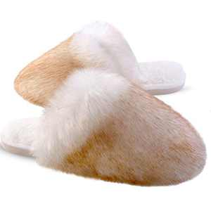 Womens Furry Slippers Soft Long Fur Plush Fleece Slip On Fluffy House Shoes Warm Comfortable Fuzzy Furry Bedroom Slippers Indoor Cozy Memory Foam Anti-Slip Brown/White 5-6