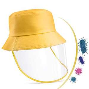 Snailrun Protective Hat with Cover,Fisherman Transparent Cap Outdoor Anti-Spitting Breathable for Children Boys Girls Toddlers Babies Xmas Gifts Christmas Decoration Yellow