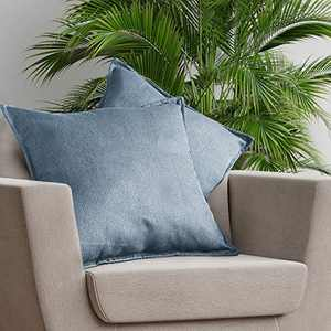 SLEEP ZONE Set of 2 Faux Linen Throw Pillow Covers Decorative Square Pillowcase Soft Solid Cushion Case for Couch Sofa Bed Chair, 18x18 inch, Grey Blue