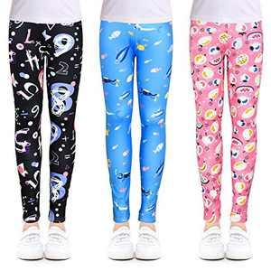 slaixiu 3-Pack Printing Flower Girl Leggings Kids Classic Pants 4-13Y(ZGHF_70#) New
