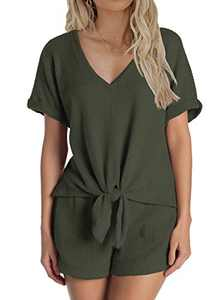 MIHOLL Pajamas Set Short Sleeve Sleepwear Womens Tie Knot Nightwear Soft Pj Lounge Sets S-XXL (Army Green, Small)