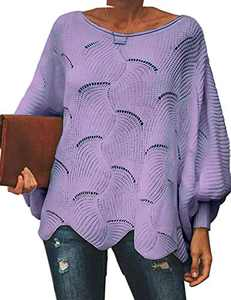 Cogild Women's Sweaters, Batwing Long Sleeve Crew Neck Oversize Sweaters for Women, Pullover Cutout Casual Loose Cute Jumper Sweater Purple