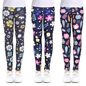 slaixiu 3-Pack Printing Flower Girl Leggings Kids Classic Pants 4-13Y(XQRT_75#) New