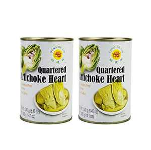 GONG DE LIN Quartered Artichoke Hearts Keto, Vegan, Paleo, Non GMO, Low Carb, Low Calorie, Gluten Free, Marinated, Steamed, Gourmet, Healthy, Natural, 14.1 oz (pack of 2)
