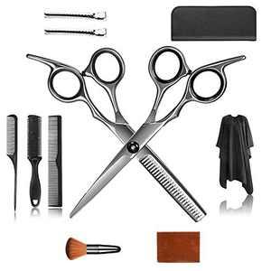Professional Hair Cutting Scissors Set Hairdressing Scissors Kit,Thinning Scissor Barber Salon Home Shear Kit,Multi-Use Haircut Kit (BLACK)