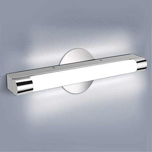 LED Vanity Light, OOWOLF 16.6 Inch 6000K Bathroom Vanity Light Fixtures Polished Chrome Stainless Steel IP44 Waterproof Wall Bath Light LED Mirror bar Front Light, Cool White