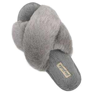 Women's Cross Band Soft Plush Slippers Furry Cozy Rabbit Fur House Shoes Open Toe Indoor Outdoor Fluffy Fuzzy Slides Grey 5