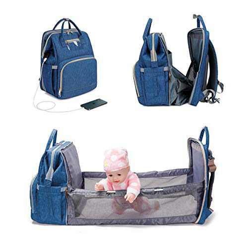 3 in 1 Diaper Bag Christmas Backpack Foldable Baby Bed Multi-functional Waterproof Mommy Bag with USB Charge, Large Capacity Baby Changing Bag(Blue)