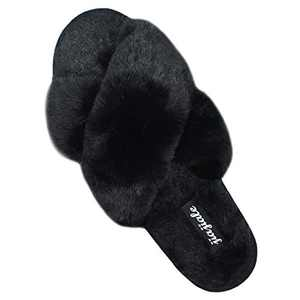 Women's Cross Band Soft Plush Slippers Furry Cozy Rabbit Fur House Shoes Open Toe Indoor Outdoor Fluffy Fuzzy Slides Black 5