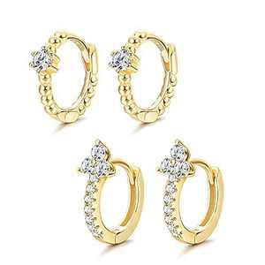 Milacolato 2 Pairs Cubic Zirconia Hoop Earrings 925 Sterling Silver Beads Huggie hoops Triangle Flower CZ Hoop Earrings for Women