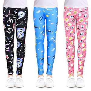 slaixiu 3-Pack Printing Flower Girl Leggings Kids Classic Pants 4-13Y(ZGHF_75#) New