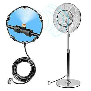 Fan Misting Kit for DIY Cool Patio with 32.8FT(10M) Misting Line & 5 Removable Brass Nozzles Galvanized Solid Brass Adapter Suitable,Connects to Any Outdoor Fan Misters for Cooling Outdoor