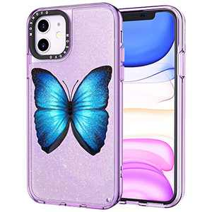 MOSNOVO iPhone 11 Case, Luxury Glitter Liquid Flowing Purple Sparkle Butterlfy Pattern Clear Design Transparent Plastic Back Case Cover with Protective TPU Bumper for iPhone 11