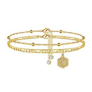 Initial Anklet Ankle Bracelets for Women - 14K Gold Filled Figaro Chain Initial Anklets for Women Gold Anklets Layered Ankle Bracelets for Women Initial Anklet Alphabet Ankle Bracelets with Initials X