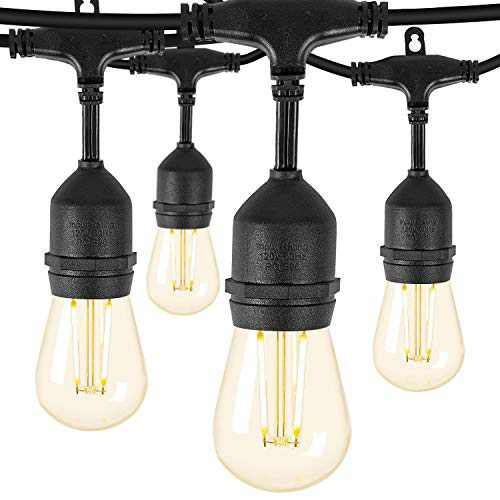 Remon Led Outdoor String Lights 48 Feet Hanging Lights Dimmable Waterproof String Light with 2W Vintage Led Bulbs for Backyard, Patio, Cafe, Wedding, Porch Party Decor