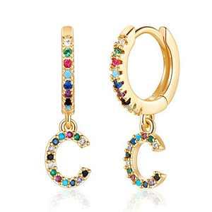 C Earrings for Girls, CZ Alphabet Letter Earrings Initial Earrings for Girls, 14K Gold Plated Pave Cubic Zirconia Fashion Initial Alphabet Letter Hoop Earrings