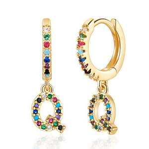 Q Initial Earrings for Kids, Tiny Alphabet Hoop Earrings for Kids Girls,14K Gold Plated Letter Earrings Cubic Zirconia Initial Hoop Earrings for Girls Kids