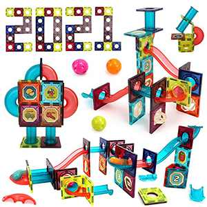 BeebeeRun 90 Piece 3D Magnetic Building Tiles,Marble Runs for Kids ,Magnet Toys,Clear Color Magnetic Building Blocks,STEM Learning Educational Playset Gift for Kids Ages 3 4 5 6 7 8+ Years Old