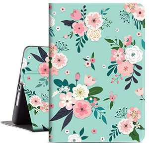Lokigo 10.2 Inch iPad Case for 8th Generation 2020, iPad 7th Gen Protective Case Cover 2019 with Premium PU Leather Soft TPU Adjustable Viewing Stand, Supports Auto Wake/Sleep (Colorful Flowers)