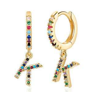 K Initial Earrings - Letter Earrings Simple Hypoallergenic Jewelry,Cubic Zirconia Initial Hoop Earrings for Toddlers Boys Kids