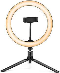 Kemier Ring Light with Tripod Stand and Phone Holder,10 Inch Dimmable Desktop LED Camera Ring Light for Makeup/Live Stream/YouTube Video/Selfie Photography Compatible with iPhone/Android