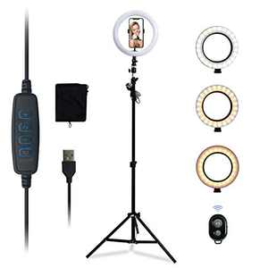 """Kemier Selfie Ring Light with 63 Inch Extendable Tripod Stand & Flexible Phone Holder for Live Stream/Makeup,10"""" Dimmable LED Ring Light Kit for TikTok/YouTube Video,Compatible with iPhone Android"""