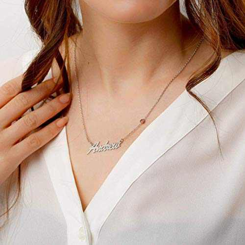 Personalized Name Necklace with 12 Months Birthstone, 18K Gold Plated Nameplate Choker Pendant Dainty Jewelry Gift for Women, Bride