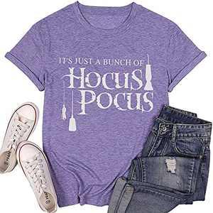 T&Twenties Women Halloween Graphic T Shirt Cute Sanderson Sisters Witch Shirts Funny Hocus Pocus Tee Tops Purple