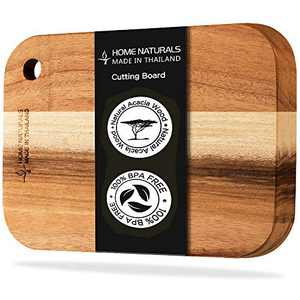 """Home Naturals Cutting Board - Acacia Wood cutting board with a hole, Convenient Hanging - Made in Thailand (11"""" x 7.9"""")"""