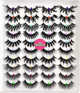 Alyxxndra Faux Mink Eyelashes 20mm Mink Lashes 20 Pack.Fake Long Natural Wispy Eyelashes,3D 5D Dramatic False Eyelashes Kit,Fluffy Falso Pestaña Wholesale.