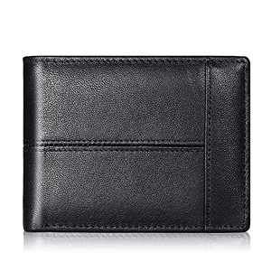 Mens Wallet Slim Genuine Leather RFID Thin Bifold Wallets For Men Minimalist Front Pocket ID Window 10 Card Holders Gift Box (Black Leather)