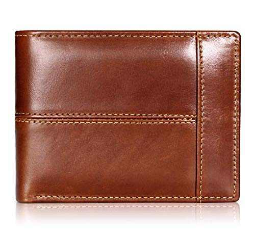 Mens Wallet Slim Genuine Leather RFID Thin Bifold Wallets For Men Minimalist Front Pocket ID Window 10 Card Holders Gift Box (Maroon Leather)