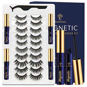 3D Magnetic Eyelashes with Eyeliner Kit - SevenCrown Magnetic Lashes with Eyeliner Natural Looking - Upgraded,Waterproof, Long Lasting,10 Pair Reusable False Eyelashes with Applicator Easy to Apply.