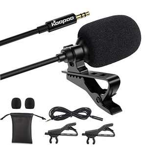 3.5mm Lapel Microphone, KOOPAO Omnidirectional Condenser Lavalier Mic with Clip Compatible with iPhone Android Windows Computer Smartphone Interview YouTube Video Conference Podcast Voice Dictation